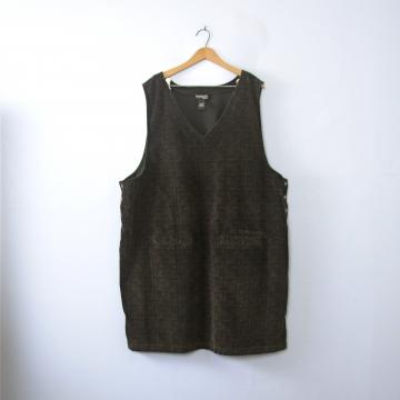 Vintage 90's dark brown plaid corduroy jumper dress with pockets, size XXL 24 plus sized