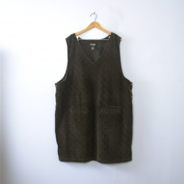 18fe7df1e31 Vintage 90 s dark brown plaid corduroy jumper dress with pockets