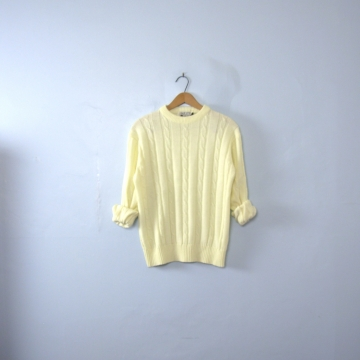 Vintage 70's off white cable knit sweater, men's size medium