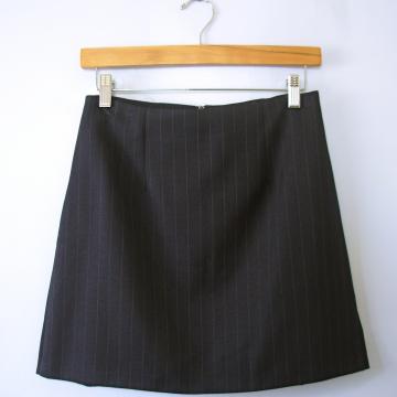 Vintage 90's navy blue pinstripe mini skirt with side slits, women's size 10 / 8