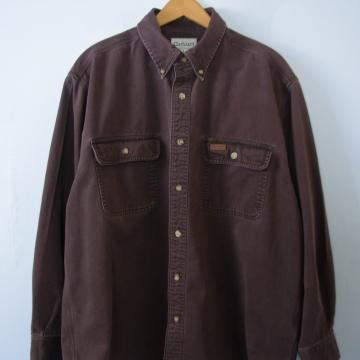 90's Carhartt brown denim button up shirt, men's large