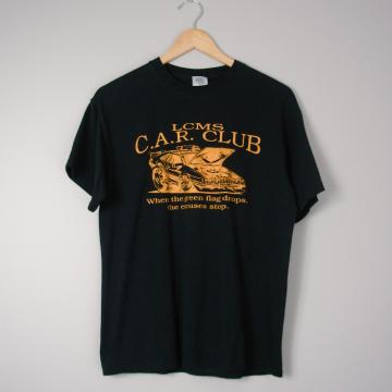 Y2K LCMS Car Club DeLorean black tee shirt, size medium