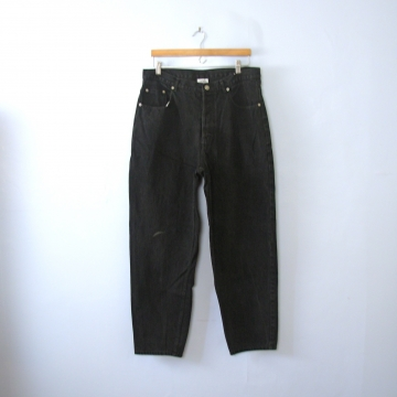 Vintage 80's Denim Express button fly black denim jeans with tapered leg, men's size 36
