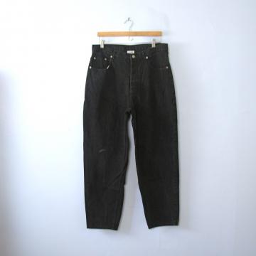 Vintage 80's Denim Express button fly black denim jeans with tapered leg, men's size 36