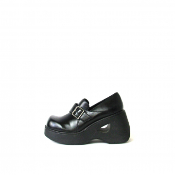 Vintage 90's LEI black chunky wedge heel loafers, women's size 7.5
