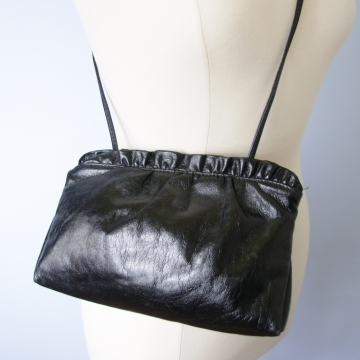 Vintage 80's black patent leather small shoulder bag and clutch