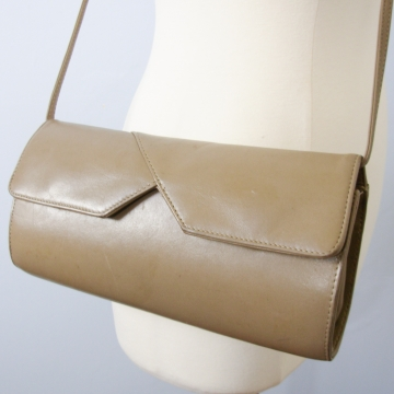 Vintage 80's hard shell purse taupe grey leather shoulder bag