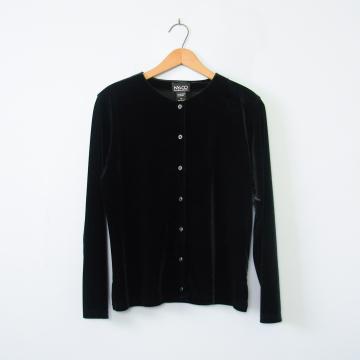 90's black velvet long sleeved cardigan, women's size medium