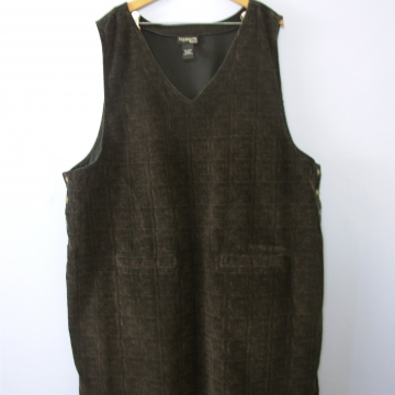 d1fb7ff78fd ... Vintage 90 s dark brown plaid corduroy jumper dress with pockets