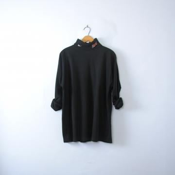 Vintage 90's Reebok Bengal's plain black turtleneck long sleeved shirt, men's size medium