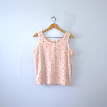 Vintage 90's pastel floral cropped tank top, women's size medium