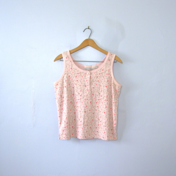 Vintage 90's pastel floral cropped tank top, women's size medium