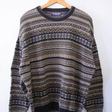 Vintage 90's grey geometric southwestern cotton sweater, men's size large