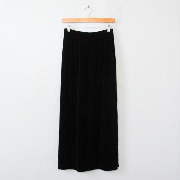 90's long black velvet skirt with side slits, women's medium