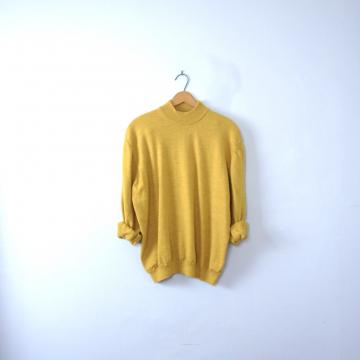 Vintage 90's mustard yellow mock turtleneck sweater, women's size XXL