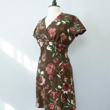 90's brown floral mini dress, women's size medium