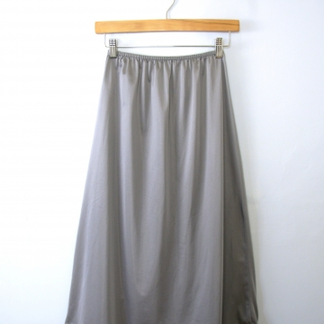 Vintage 80's grey silver silky slip skirt with lace trim and slit in back, size medium