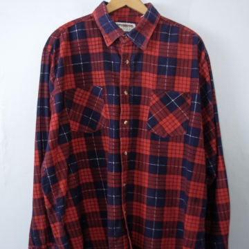 80's red plaid flannel button up shirt, men's XL