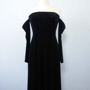 90's off the shoulder black velvet maxi dress, women's large