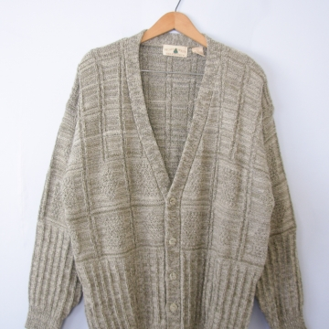 Vintage 80's oatmeal oversized cardigan sweater, men's size large