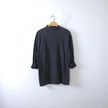 Vintage 90's navy blue mock turtleneck long sleeved shirt, men's medium