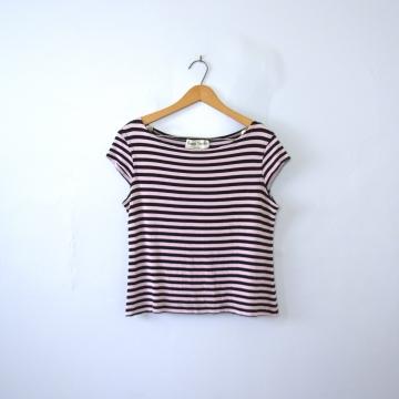 Vintage 90's pink and black striped crop top, women's size 8 / medium