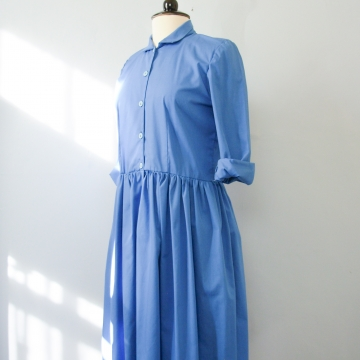 80's sky blue button up midi dress, women's size medium / large