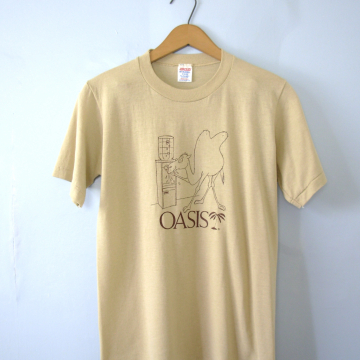Vintage 80's graphic tee, Oasis Camel beige shirt, size small