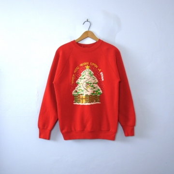 Vintage 80's Wish Upon a Star red Ugly Christmas sweatshirt, men's size large / medium