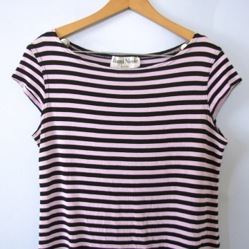 Vintage 90's pink and black striped crop top, women's size 8 / medium