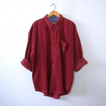 Vintage 90's burgundy corduroy button up shirt, size XL