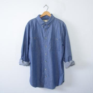 Vintage 90's blue button up denim shirt, men's size large