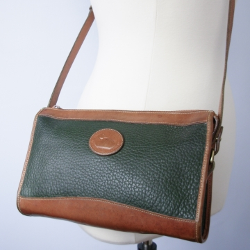 Vintage 80's Dooney & Bourke purse top zip crossbody, green and British tan leather