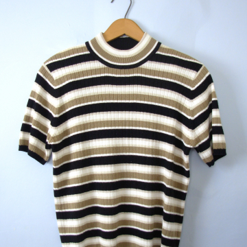 Vintage 90's ribbed knit top, striped shirt, size medium