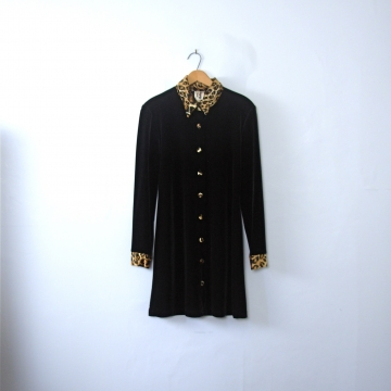 Vintage 90's black velvet dress with leopard print trim, size 9 / 10 medium