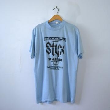 Vintage 70's Styx and Angel shirt Cincinnati Ohio concert band tee, size XL / large