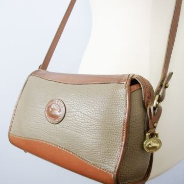 Vintage 90's Dooney and Bourke taupe and british tan crossbody purse
