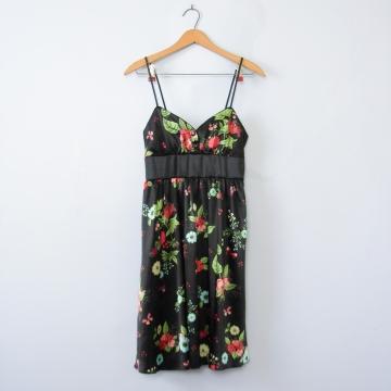 Y2K black floral babydoll mini dress, women's small / xs