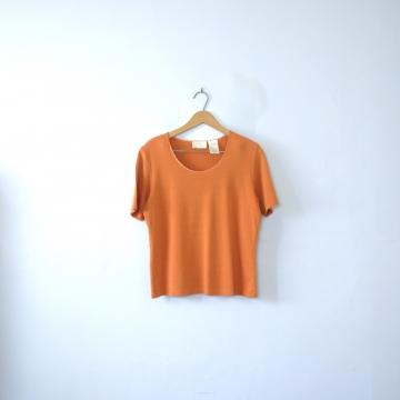 Vintage 90's pumpkin orange ribbed knit shirt, women's size medium