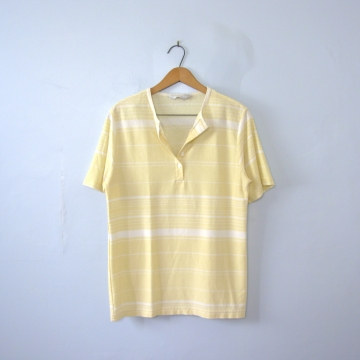 Vintage 80's yellow and white striped henley shirt, women's size medium