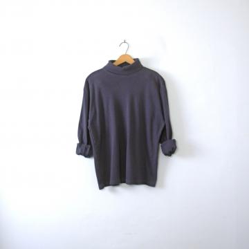 Vintage 90's navy blue turtleneck long sleeved shirt, men's medium
