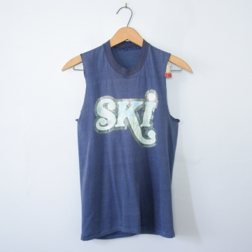 Vintage 70's blue SKI sleeveless shirt, men's size XS