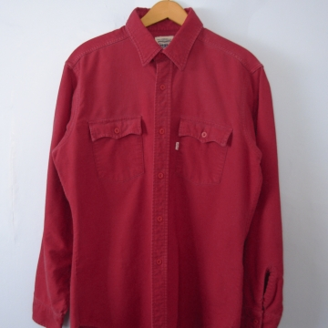 Vintage 90's distressed Levi's solid red flannel button up western shirt, men's size large