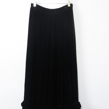 90's silk long black velvet skirt, women's medium