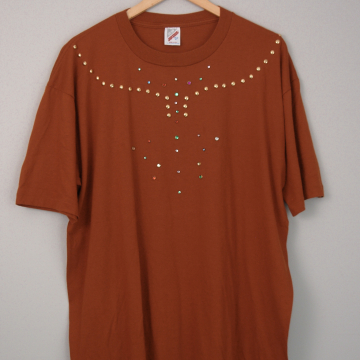 80's rust orange studded and bedazzled tee shirt, size XL