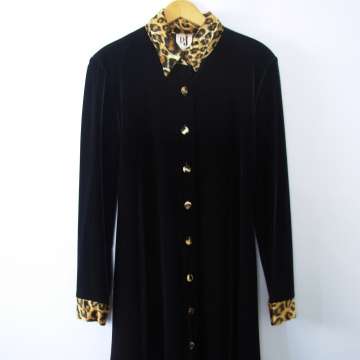 Vintage 90's black velvet dress with leopard print trim, size 9 / 10 medium