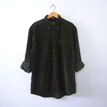 Vintage 90's black corduroy button up shirt, size medium