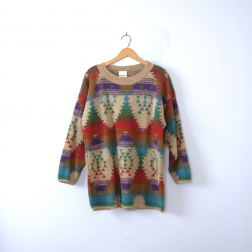 Vintage 80's oversized sweater, geometric southwestern sweater, women's size large / XL