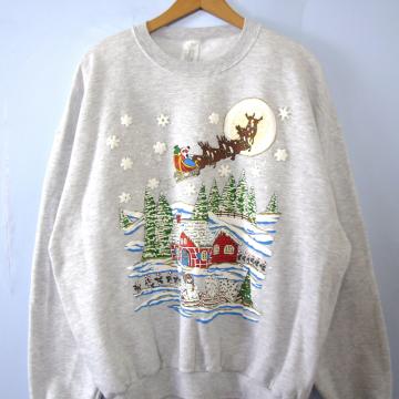 Vintage 90's light grey Ugly Christmas sweatshirt, men's size XL