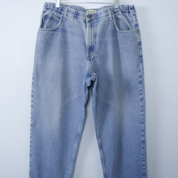 Vintage 90's LL Bean distressed blue jeans with tapered leg, men's size 38